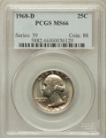 Washington Quarters: , 1968-D 25C MS66 PCGS. PCGS Population (1207/145). NGC Census:(155/134). Mintage: 101,534,000. Numismedia Wsl. Price for pr...