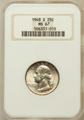 Washington Quarters: , 1948-S 25C MS67 NGC. NGC Census: (283/1). PCGS Population (54/1).Mintage: 15,960,000. Numismedia Wsl. Price for problem fr...