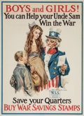"Mainstream Illustration, JAMES MONTGOMERY FLAGG (American, 1877-1960). ""Boys and Girls,Save Your Quarters!"", stamps advertisement. Offset color ..."