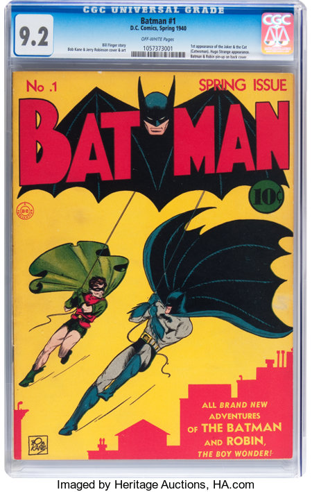 Batman #1 (DC, 1940) CGC NM- 9.2 Off-white pages....
