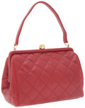 Luxury Accessories:Accessories, Chanel Red Caviar Quilted Leather Bag with Kisslock Closure. ...