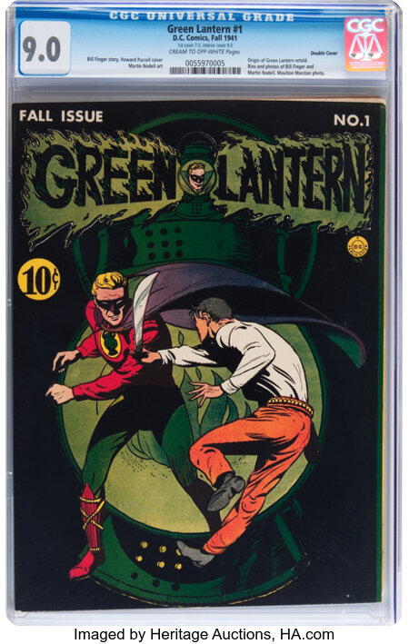 Green Lantern #1 Double Cover (DC, 1941) CGC VF/NM 9.0 Cream to off-white pages....