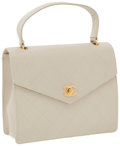 Luxury Accessories:Accessories, Chanel Beige Caviar Leather Top Handle Bag with Gold Hardware. ...
