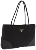 Luxury Accessories:Accessories, Prada Black Microfiber & Nappa Leather Shoulder Bag. ...