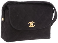 Chanel Black Quilted Suede Flap Bag with Gold Hardware