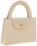 Luxury Accessories:Accessories, Chanel Beige Fabric Top Handle Bag with Gold Hardware. ...
