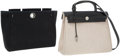 Luxury Accessories:Accessories, Hermes Sand Toile & Black Vache Leather Herbag PM with Palladium Hardware. ...