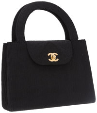Chanel Black Fabric Top Handle Bag with Gold Hardware
