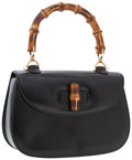 Luxury Accessories:Accessories, Gucci Black Leather Flap Bag with Bamboo Top Handle. ...