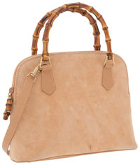 Gucci Peach Suede Bag with Bamboo Top Handles