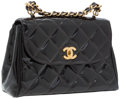 Luxury Accessories:Accessories, Chanel Brown Quilted Patent Leather Bag with Chain Top Handle. ...