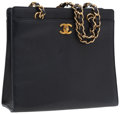 Luxury Accessories:Accessories, Chanel Navy Caviar Leather CC Bag with Chain Strap. ...