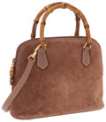 Luxury Accessories:Accessories, Gucci Brown Suede Bag with Bamboo Top Handles and Detachable Strap....