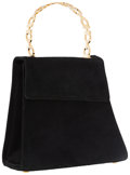 Luxury Accessories:Accessories, Salvatore Ferragamo Black Suede Bag with Gancio Top Handle . ...