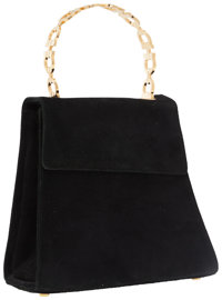 Salvatore Ferragamo Black Suede Bag with Gancio Top Handle