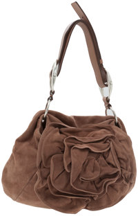 Yves Saint Laurent Light Brown Suede Rose Bag