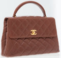 Luxury Accessories:Accessories, Chanel Brown Lambskin Leather Flap Bag with Top Handle. ...