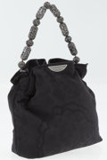 Luxury Accessories:Accessories, Christian Dior Black Brocade Bag with Gunmetal Hardware andFilagree Beaded Handle . ...