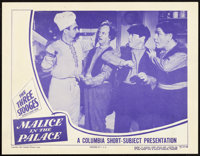"""The Three Stooges in Malice in the Palace (Columbia, 1949). Lobby Card (11"""" X 14"""")"""