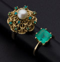 Estate Jewelry:Rings, Emerald, Cultured Pearl, Turquoise, Gold Rings. ... (Total: 2 Items)