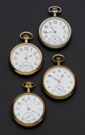 Timepieces:Pocket (post 1900), Three Elgin & One Illinois 16 Size Pocket Watches Runners. ... (Total: 4 Items)