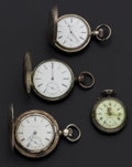 Timepieces:Pocket (post 1900), A Lot Of Four Sterling Or Coin Silver Pocket Watches. ... (Total: 4Items)