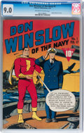 Golden Age (1938-1955):War, Don Winslow of the Navy #1 (Fawcett, 1943) CGC VF/NM 9.0 Off-whiteto white pages....