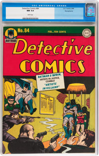 Detective Comics #84 Pennsylvania pedigree (DC, 1944) CGC NM 9.4 White pages