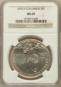Modern Issues: , 1992-D $1 Columbus Silver Dollar MS69 NGC. NGC Census: (1278/305).PCGS Population (1799/146). Mintage: 106,949. Numismedia...