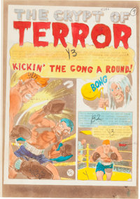 """Vault of Horror #25 """"Kickin' the Gong Around!"""" Complete Story Silverprint Proof Group (EC, 1952).... (Total: 7..."""