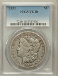 Morgan Dollars: , 1893 $1 VG10 PCGS. PCGS Population (29/5807). NGC Census:(23/3872). Mintage: 389,792. Numismedia Wsl. Price for problemfr...