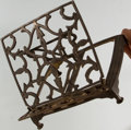 """Books:Prints & Leaves, [Book Stand]. Early 20th Century Solid Brass Folding Book Stand.Measures 8"""" tall x 9.5"""" wide x 8"""" deep. Rich patina and som..."""