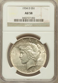 Peace Dollars: , 1934-D $1 AU58 NGC. NGC Census: (492/3484). PCGS Population(575/4525). Mintage: 1,569,500. Numismedia Wsl. Price for probl...