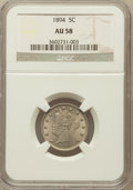 Liberty Nickels: , 1894 5C AU58 NGC. NGC Census: (15/251). PCGS Population (34/352).Mintage: 5,413,132. Numismedia Wsl. Price for problem fre...