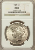 Peace Dollars: , 1927 $1 MS62 NGC. NGC Census: (1101/2650). PCGS Population(1178/4329). Mintage: 848,000. Numismedia Wsl. Price for problem...