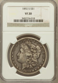 Morgan Dollars: , 1892-S $1 VF20 NGC. NGC Census: (64/2770). PCGS Population(145/3191). Mintage: 1,200,000. Numismedia Wsl. Price for proble...
