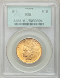 Indian Eagles, 1911 $10 MS61 PCGS. PCGS Population (845/4870). NGC Census:(2056/6083). Mintage: 505,595. Numismedia Wsl. Price for proble...