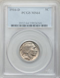 Buffalo Nickels, 1916-D 5C MS64 PCGS. PCGS Population (414/128). NGC Census: (295/50). Mintage: 13,333,000. Numismedia Wsl. Price for proble...