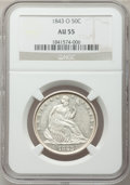 Seated Half Dollars: , 1843-O 50C AU55 NGC. NGC Census: (8/48). PCGS Population (14/45).Mintage: 2,268,000. Numismedia Wsl. Price for problem fre...
