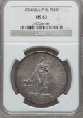 Miscellaneous, 1904 Peso Philippines Peso Struck at the US Mint MS63 NGC. PCGS Population (17/39)....