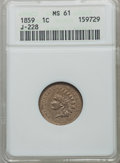 1859 P1C Indian Cent, Judd-228, Pollock-272, R.1, MS61 ANACS. ...(PCGS# 11932)