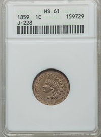 1859 P1C Indian Cent, Judd-228, Pollock-272, R.1, MS61 ANACS. NGC Census: (0/113). PCGS Population (3/257). ...(PCGS# 11...