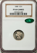 Proof Three Cent Nickels: , 1888 3CN PR64 Cameo NGC. CAC. NGC Census: (35/95). PCGS Population(41/137). ...