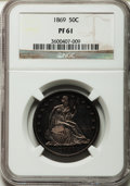 Proof Seated Half Dollars: , 1869 50C PR61 NGC. NGC Census: (8/124). PCGS Population (12/166).Mintage: 600. Numismedia Wsl. Price for problem free NGC/...