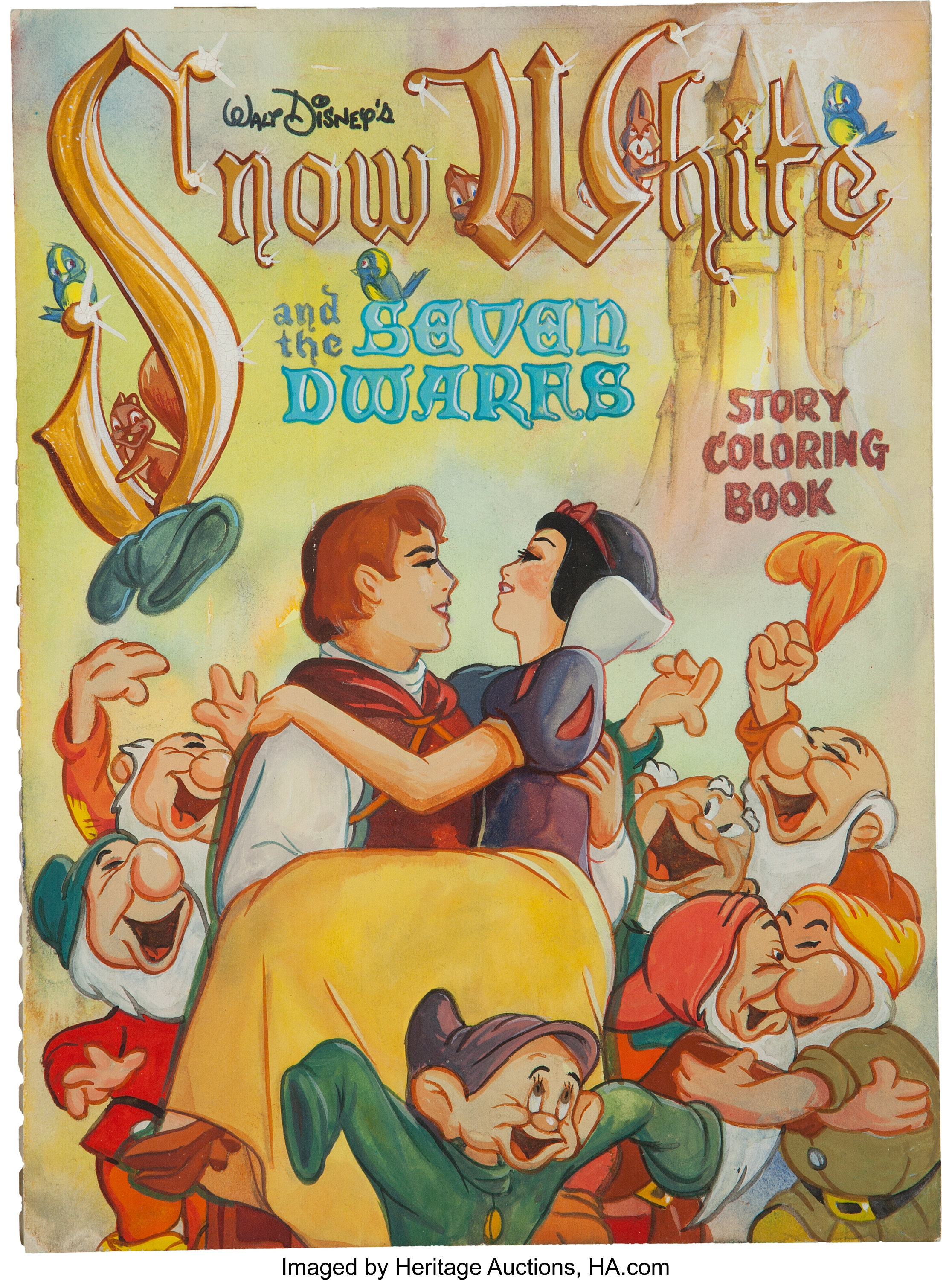 Snow White And The Seven Dwarfs Coloring Book Cover Original Art Lot 13622 Heritage Auctions