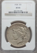 Peace Dollars: , 1928 $1 XF45 NGC. NGC Census: (145/5847). PCGS Population(163/7887). Mintage: 360,649. Numismedia Wsl. Price for problemf...