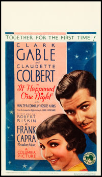 "It Happened One Night (Columbia, 1934). Midget Window Card (8"" X 14"")"