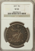 Trade Dollars: , 1877 T$1 VF35 NGC. NGC Census: (19/449). PCGS Population (48/523).Mintage: 3,039,710. Numismedia Wsl. Price for problem fr...
