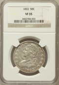 Bust Half Dollars: , 1833 50C VF35 NGC. NGC Census: (44/1269). PCGS Population(75/1371). Mintage: 5,206,000. Numismedia Wsl. Price for problem...