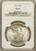 Peace Dollars: , 1922-S $1 MS62 NGC. NGC Census: (643/3809). PCGS Population(1032/4552). Mintage: 17,475,000. Numismedia Wsl. Price for pro...